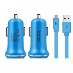 Incarcator auto, Hoco, Z1, 1.5 A, cablu micro USB, albastru