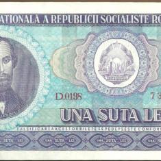 BANCNOTA 100 LEI 1966 UNC (serie 733209) - Bancnota romaneasca