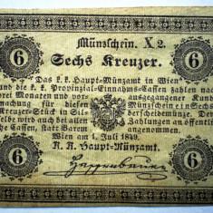 92. AUSTRIA 6 KREUZER 1849 - bancnota europa