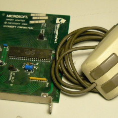 Mouse Microsoft cu adaptor InPort conector ISA 8 - RARITATE !