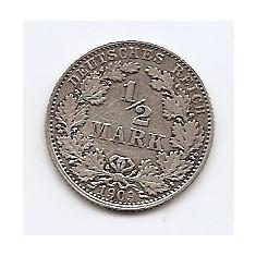 Germania ½ Mark 1909 D - Wilhelm II, Argint 2.78 g/900, RR1 , 20 mm KM-17