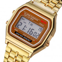 Ceas Casual Vintage gen CASIO MODEL RETRO ANII 80 Gold Silver Gold Black NOU - Ceas barbatesc Casio, Fashion, Quartz, Inox, Cauciuc, Cronograf