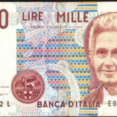 Italia 1990 - BANCNOTA DE 1000 LIRE, VF+