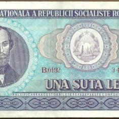 BANCNOTA 100 LEI 1966 AUNC (serie 346146) - Bancnota romaneasca
