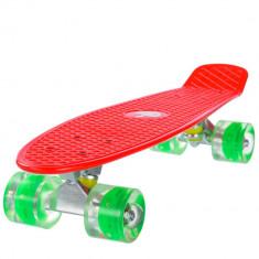 Penny board, Mad Abec-7, roti luminoase Red - Skateboard, Marime: 22