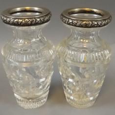 Pereche de vase pentru flori - cristal si argint, Vaza