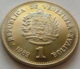 Moneda 1 BOLIVAR - VENEZUELA, anul 1989 *cod 270 - UNC, America Centrala si de Sud