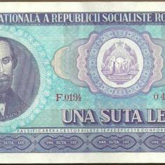BANCNOTA 100 LEI 1966 AUNC (serie 049978) - Bancnota romaneasca