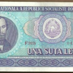 BANCNOTA 100 LEI 1966 AUNC (serie 049977) - Bancnota romaneasca