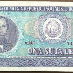 BANCNOTA 100 LEI 1966 AUNC (serie 749021) - Bancnota romaneasca