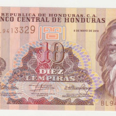 HONDURAS 10 lempiras 2010 UNC - bancnota america