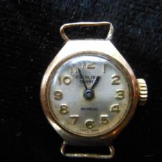 Ceas micut din aur, Excalibur 17 jewels, incabloc, cu marcaj 375. - Ceas dama, Mecanic-Automatic