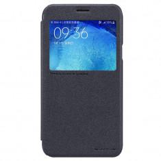 Flip Cover, Nillkin, Sparkle leather pentru Samsung Galaxy J7, negru