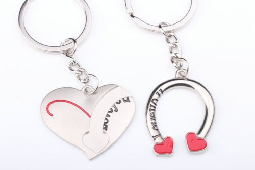 Set Breloc Pentru Cuplu / Indragostiti -I LOVE YOU - Inima + Potcoava