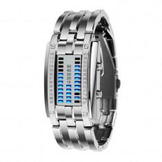 Ceas De Mana Cu LED Stil Bratara - Otel Inoxidabil , Quartz- Model Argintiu