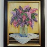 Tablou/Pictura in ulei pe panza - Liliac - Pictor roman, Flori, Realism