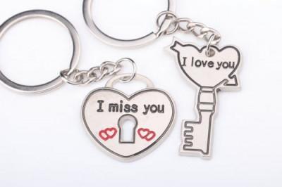 Set Breloc Pentru Cuplu / Indragostiti - I LOVE YOU & I MISS YOU - 2buc/set foto