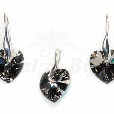 Set Cercei si Pandantiv Argint 925 cu Swarovski Elements 14mm HEART Silver Night - Set Swarovski