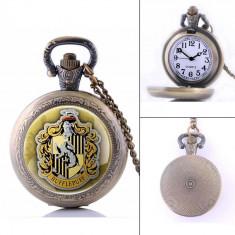 Ceas Buzunar Bronz - HARRY POTTER HUFFLEPUFF - Vintage, Quartz, Analog, - NOU - Ceas de buzunar