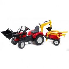Tractor Ranch Rosu Cu Cupa, Remorca Si Excavator
