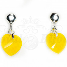 Cercei Argint 925 cu Swarovski Elements 10mm HEART Yellow Opal - Cercei Swarovski