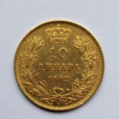 Serbia - 10 dinara 1882 - moneda aur, Europa