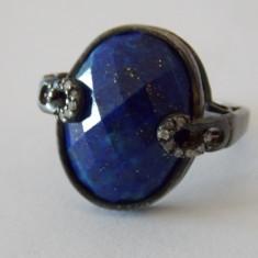 Inel argint cu zirconii si lapis lazuli vintage -2003