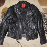 Geaca Harley Davidson motor/rockeri, piele groasa, franjuri, marimea S/M, USA - Geaca barbati, Culoare: Negru