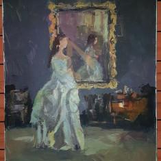 TABLOU, GHEORGHE COMAN, FEMEIE IN BUDOAR, U/P [ 60CM X 60 CM] - Pictor roman
