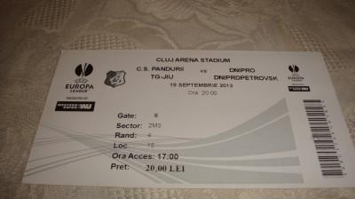 Bilet meci fotbal -  Pandurii Tg. Jiu - Dnipro D. - Europa League - 19 09 2013 foto