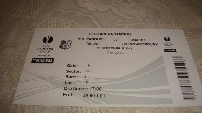 Bilet meci fotbal -  Pandurii Tg. Jiu - Dnipro D. - Europa League - 19 09 2013