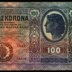 Z927 ROMANIA TIMBRU SPECIAL 100 KORONA COROANE 1912 UNGARIA FOARTE FRUMOASA - Bancnota romaneasca