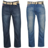 Oferta! Blugi pantaloni Barbati Lee Cooper Belted - originali - Blugi dama, Marime: 30, 32, 34, 36, 38, 40, Culoare: Albastru, Bleu, Lungi