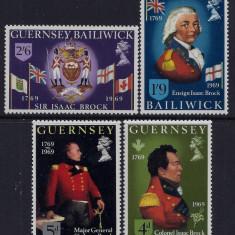 Guernsey 1969 6 Euro Isaac Brock - serie nestampilata MNH - Timbre straine