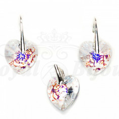 Set Cercei si Pandantiv Argint 925 cu Swarovski Elements 14mm HEART White Patina - Set Swarovski