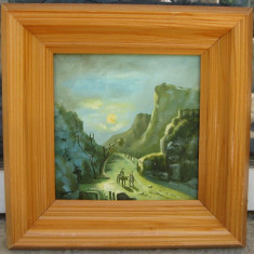 Pe drumuri de munte tablou peisaj montan pictat in ulei pe panza 28x28 cm - Pictor roman, Peisaje, Realism