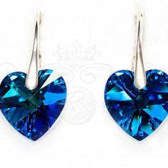 Cercei Argint 925 cu Swarovski Elements 14mm HEART Bermuda Blue - Cercei Swarovski