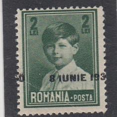 ROMANIA 1930 LP 83 l MIHAI I VALOAREA 2 LEI EROARE SUPRATIPAR DEPLASAT - Timbre Romania, Nestampilat