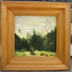 Indragostiti tablou peisaj montan pictat in ulei pe panza 28x28 cm - Pictor roman, Peisaje, Realism
