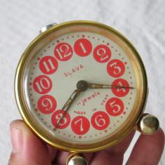 Ceas vechi Slava URSS, ceas rusesc de masa cu desteptator, ceas Slava - Ceas de masa