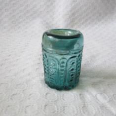 Calimara veche din sticla cu model, calimara deosebita pentru toc de scris