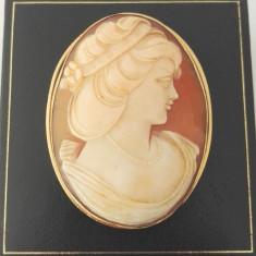 Brosa / pandantiv din aur cu camee - Brosa aur, 18k