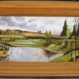 Toamna tarzie tablou peisaj montan pictat in ulei pe panza 27x44 cm - Pictor roman, Peisaje, Realism