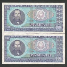 ROMANIA 100 LEI 1966 [5] XF+, Serie Consecutiva, pret / 2 buc - Bancnota romaneasca
