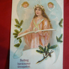 Ilustrata - Felicitare - Religioasa, cenzurata Arad - Carte postala tematica, Circulata, Printata