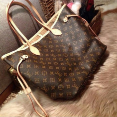Geanta Dama Louis Vuitton Neverfull, Culoare: Din imagine, Marime: Mare, Asemanator piele