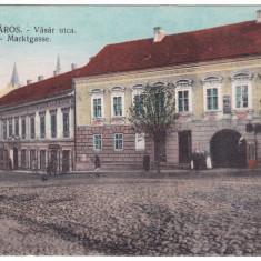 #2000- Romania, Szaszvaros, Orastie, Broos, c.p. circ. 1916: Strada Vasar, anim - Carte Postala Transilvania 1904-1918, Circulata, Fotografie