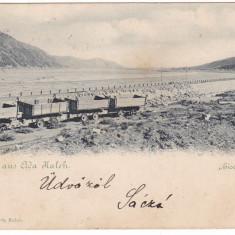 #2004- Romania, Ada-Kaleh, c.p. circulata 1900: Portile de Fier, vagoneti - Carte Postala Oltenia 1904-1918, Fotografie