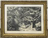 Padure de stejari tablou peisaj pictura grafica in tus 20x25 cm, Peisaje, Cerneala, Realism