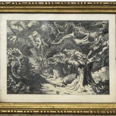 Padure de stejari tablou peisaj pictura grafica in tus 20x25 cm - Pictor roman, Peisaje, Cerneala, Realism